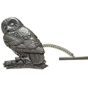 Perched Owl Bird Tie Tack